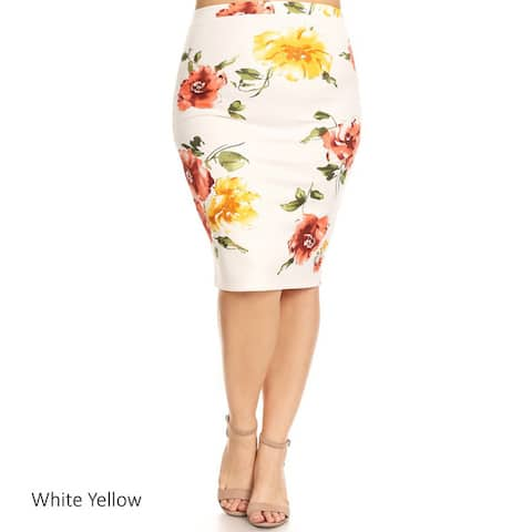 Women's Plus Size Floral Roses Pattern Pencil Skirt