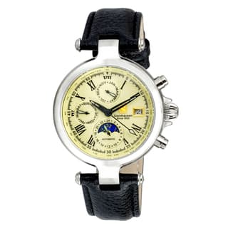 Steinhausen Men's SW381S Marquise Stainless Steel Automatic Self-Wind Three Eye 24 Hour Dial Black Leather Band Watch|https://ak1.ostkcdn.com/images/products/15999919/P22393757.jpg?impolicy=medium