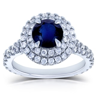 Annello by Kobelli 14k White Gold 2 1/3ct TGW Round Sapphire and Diamond Double Halo Vintage Engagement Ring