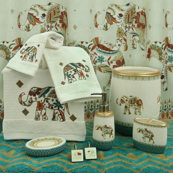 Boho elephant bath accessories by bacova free shipping for Elephant bathroom accessories