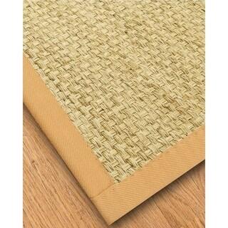 Natural Area Rugs Handcrafted Palmas Natural Seagrass Rug - Tan Binding Plus Bonud Rug Pad (5' x 8')