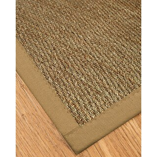 Natural Area Rugs Handcrafted Mayfair Natural Seagrass Rug - Black Binding Plus (4' x 6')