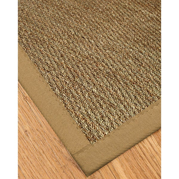 "Natural Area Rugs Handcrafted Mayfair Natural Seagrass Runner Rug - Black Binding (2'6"" x 8')"