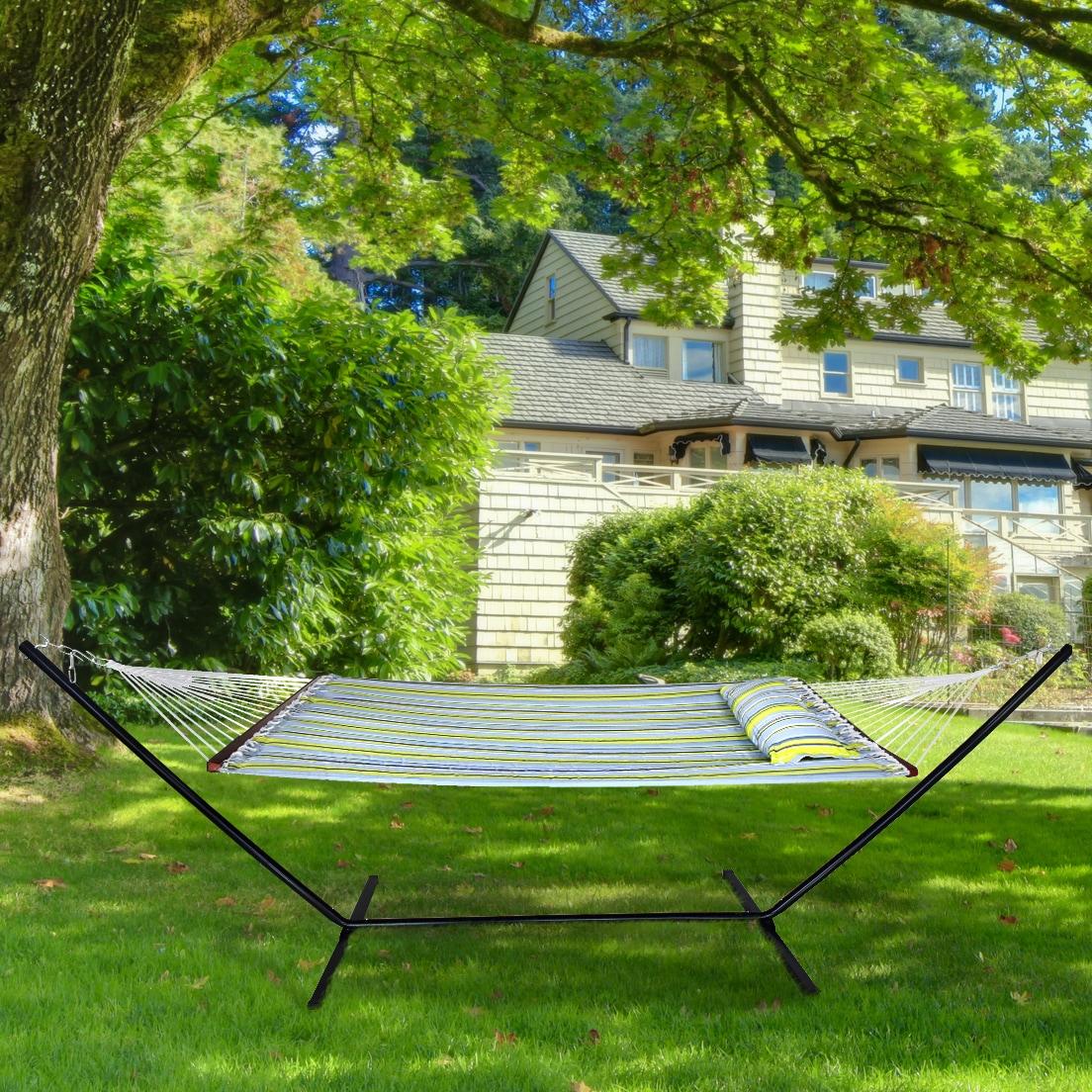 Sorbus® Hammock Bed Includes Detachable Pillow and Spreader Bar (Green Blue) (Sorbus Hammock Bed)