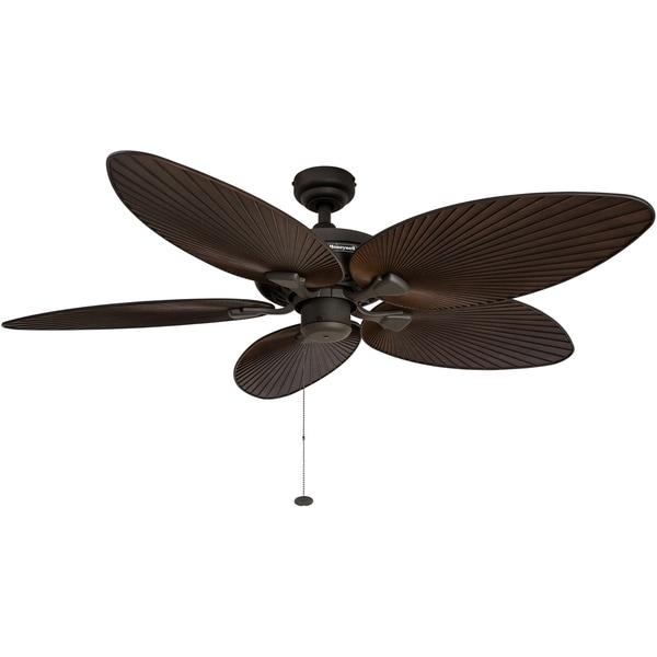 "52 Gauguin Tropical 4 Blade Indoor Outdoor Ceiling Fan: Shop 52"" Honeywell Palm Island Bronze Ceiling Fan With"