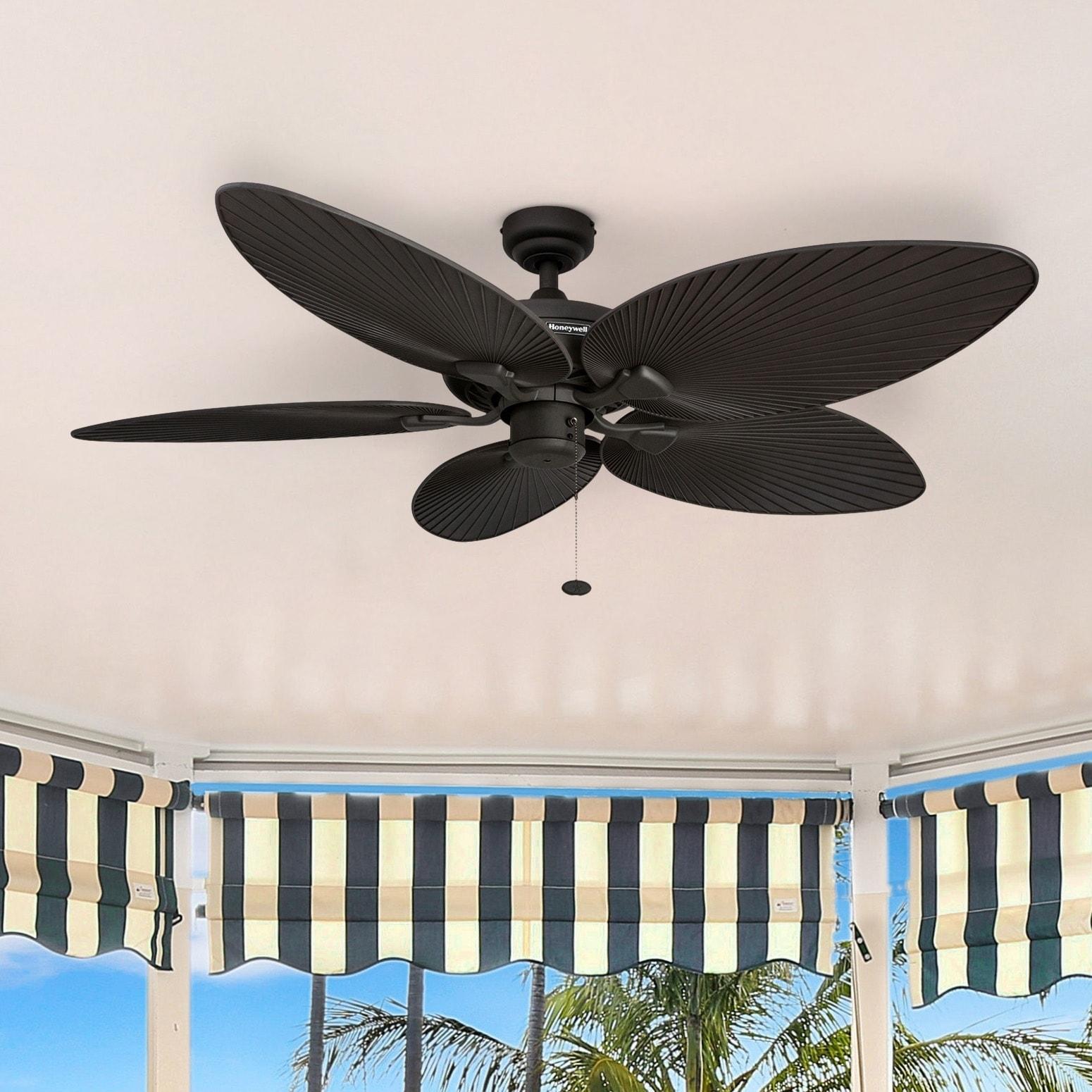 "52"" Honeywell Palm Island Bronze Ceiling Fan with Palm Bl..."