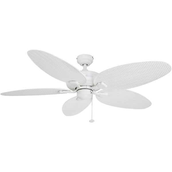 """52 Gauguin Tropical 4 Blade Indoor Outdoor Ceiling Fan: Shop 52"""" Honeywell Duval White Indoor/Outdoor Ceiling Fan"""