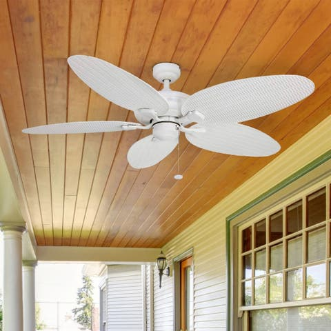 Honeywell Duvall Tropical Ceiling Fan, Five Wet Rated Wicker Blades, Indoor/Outdoor, White - 52-Inch