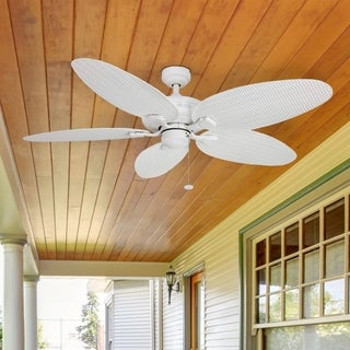 "52"" Honeywell Duval White Indoor/Outdoor Ceiling Fan with Wicker Blades"