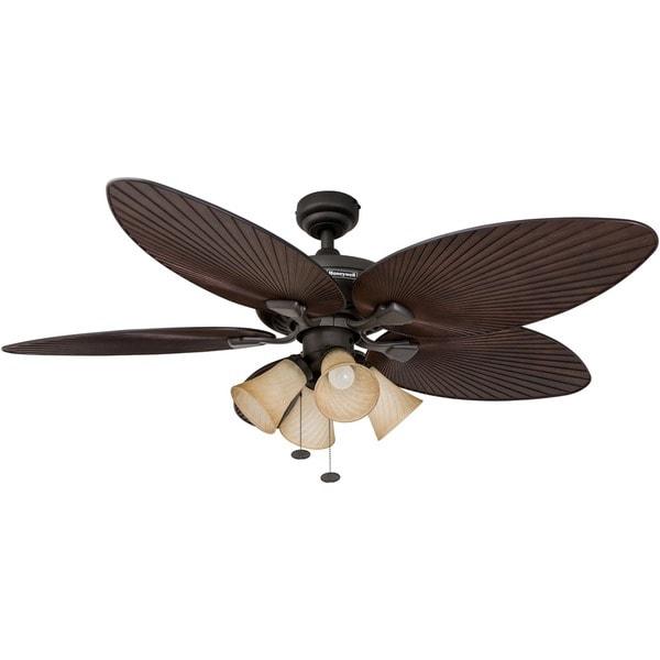 "Shop 52"" Honeywell Palm Island Bronze Ceiling Fan With 4"
