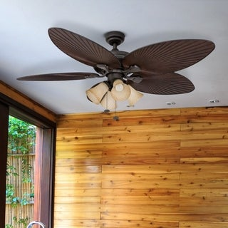 "52"" Honeywell Palm Island Bronze Ceiling Fan with 4 Light"