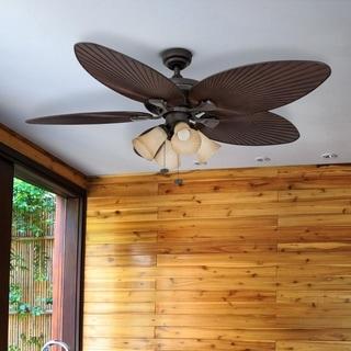 "52"" Honeywell Palm Island Bronze Ceiling Fan with 4 Light"
