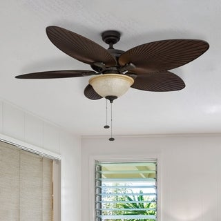 "52"" Honeywell Palm Island Bronze Ceiling Fan with Bowl Light"