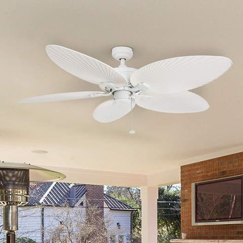 """52"""" Honeywell Palm Island White Ceiling Fan with Palm Blades"""
