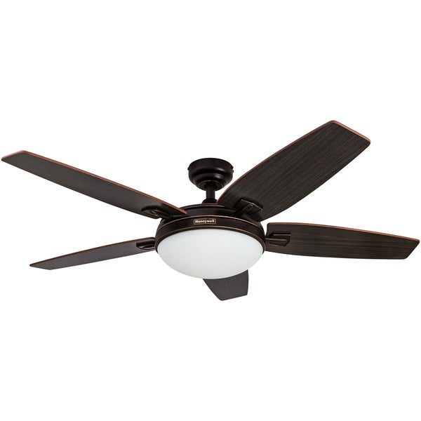 "48"" Honeywell Carmel Oil Rubbed Bronze Ceiling Fan with Integrated Light and Remote"