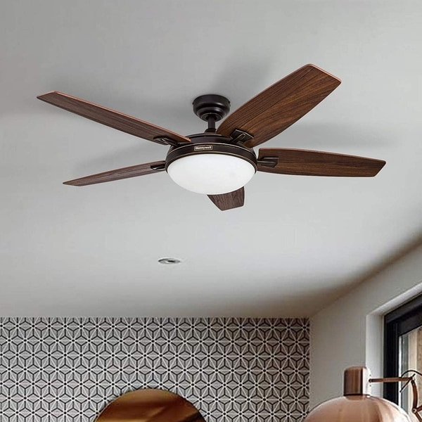 Honeywell Carmel Oil Rubbed Bronze Ceiling Fan with Integrated Light and Remote - 48-inch