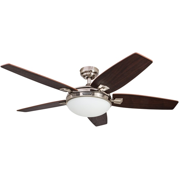 Shop 48 honeywell carmel brushed nickel ceiling fan with integrated 48 honeywell carmel brushed nickel ceiling fan with integrated light and remote aloadofball Image collections