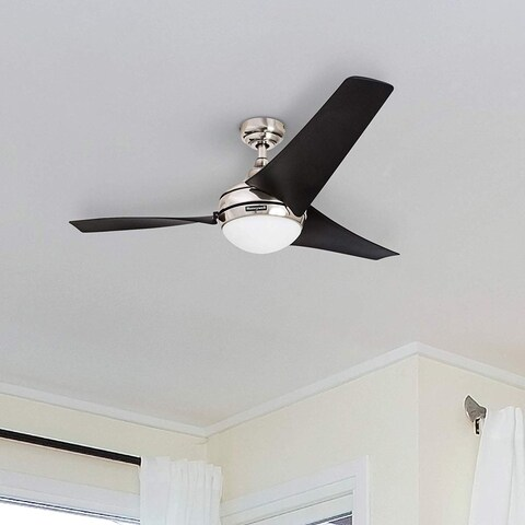 """52"""" Honeywell Rio Brushed Nickel 3 Blade Ceiling Fan with Integrated Light and Remote"""