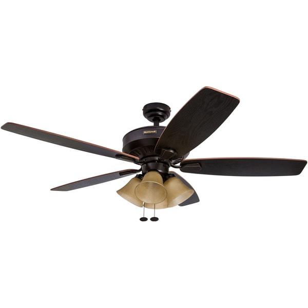 52 Honeywell Birnham Oil Rubbed Bronze Ceiling Fan With 4 Light