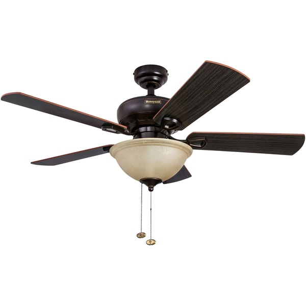 """44"""" Honeywell Woodcrest Oil Rubbed Bronze Ceiling Fan with Bowl Light"""