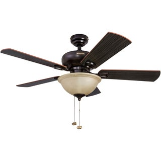 "44"" Honeywell Woodcrest Oil Rubbed Bronze Ceiling Fan with Bowl Light"