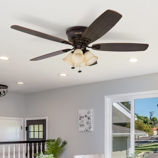 "52"" Honeywell Glen Alden Oil Rubbed Bronze Hugger Ceiling Fan with 4 Light"