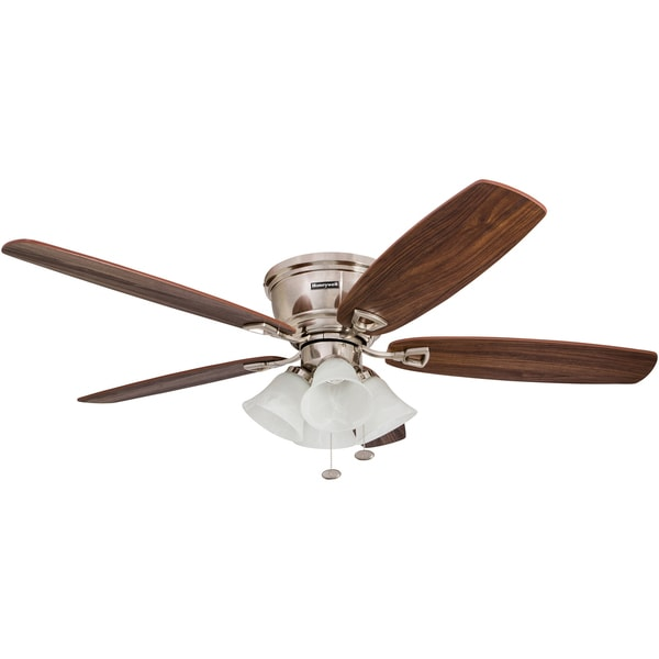 """52"""" Honeywell Glen Alden Brushed Nickel Hugger Ceiling Fan with 4 Light"""