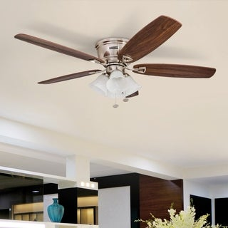 "52"" Honeywell Glen Alden Brushed Nickel Hugger Ceiling Fan with 4 Light"