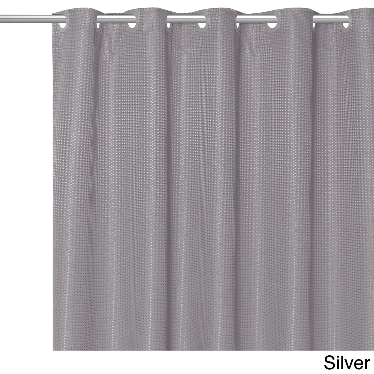 EZ ON Waffle Weave Fabric Shower Curtain With Snap Off Liner Assorted  Colors (70