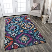 Hand-Tufted Zingaro Navy Wool Medallion Area Rug - 5' x 8'