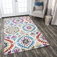 Hand-Tufted Zingaro Ivory Wool Medallion Area Rug - 5' x 8'