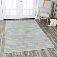 Hand-Woven  Wynwood Aqua Jute Cotton   Strips   Area Rug (5' x 7') - 5' x 7'