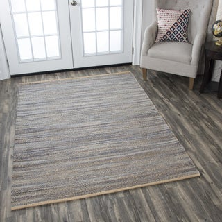 Hand-Woven  Wynwood Navy  Jute Cotton   Strips   Area Rug (5' x 7') - 5' x 7'