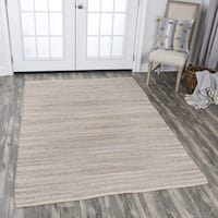 Hand-Woven Wynwood Grey Jute Cotton Strips Area Rug (5' x 7')