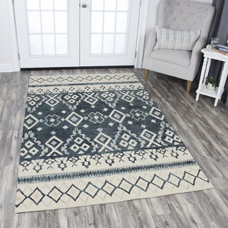 Hand-Tufted Opulent Natural Wool Tribal Motif Area Rug (5' x 8')