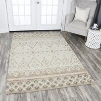 Hand-Tufted Opulent Natural Wool Geometric Area Rug (5' x 8')
