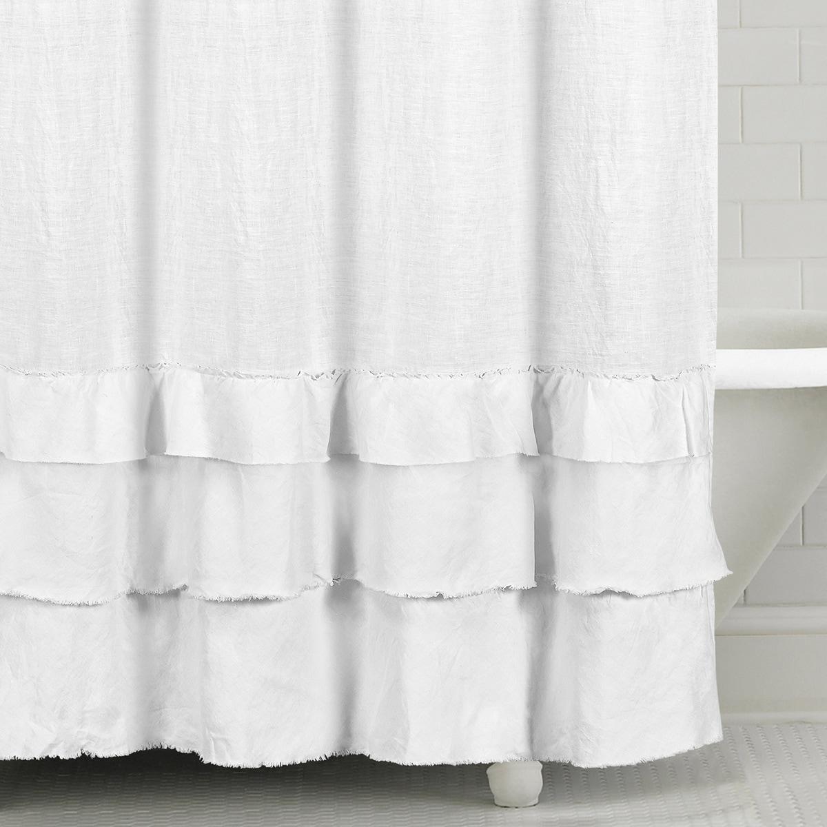 Ruffled Washed Belgian Linen Shower Curtain