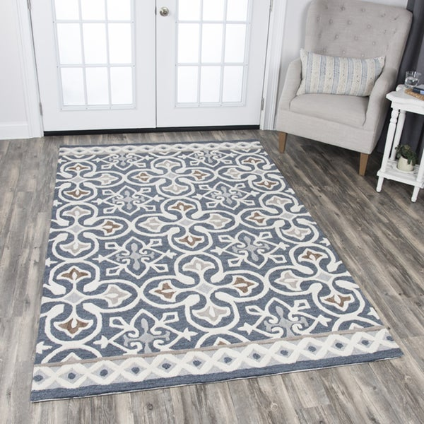 Hand Tufted Ont Blue Grey Wool Medallion Area Rug
