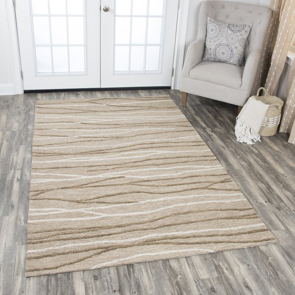 Hand-Tufted Idyllic Natural Wool Lines Area Rug - 5' x 8'