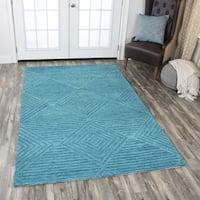 Hand-Tufted Idyllic Teal Wool Solid Area Rug (5' x 8') - 5' x 8'