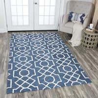 Hand-Tufted Idyllic Dark Blue Wool Geometric Area Rug (5' x 8')