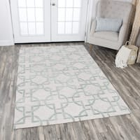 Hand-Tufted Idyllic Natural Wool Interlocking Circles Area Rug - 5' x 8'