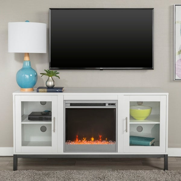 """52"""" Fireplace TV Stand Console with Metal Base"""