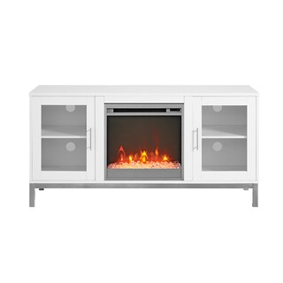 52-inch Modern Fireplace TV Stand with Metal Legs (Option: White)