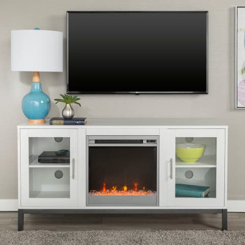 "52"" Fireplace TV Stand Console with Metal Base - 52 x 16 x 26h"