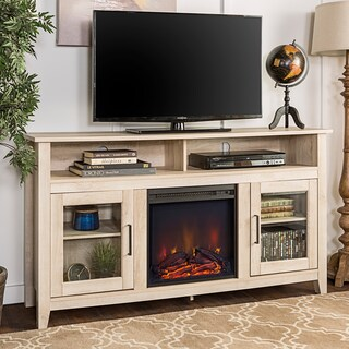 58-inch Traditional Wood Highboy TV Stand with Electric Fireplace (2 options available)