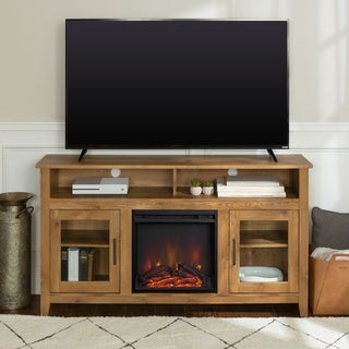 "58"" Traditional Wood Highboy Media TV Stand Console with Electric Fireplace"