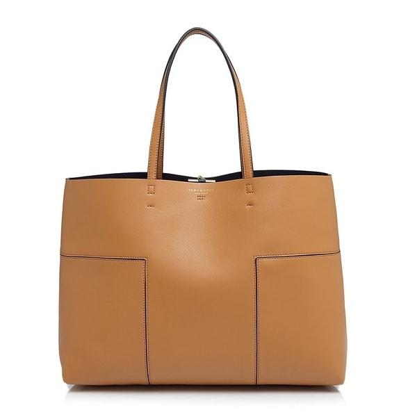 Shop Tory Burch  Block-T  Aged Vachetta Leather Tote Bag - Free ... 13200a11fbcdc