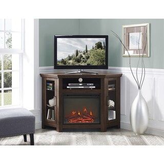 48-inch Traditional Wood Corner Fireplace Media TV Stand Console (2 options available)