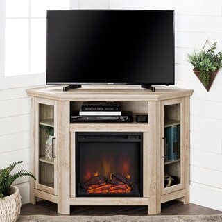 48-inch Traditional Wood Corner Fireplace Media TV Stand Console